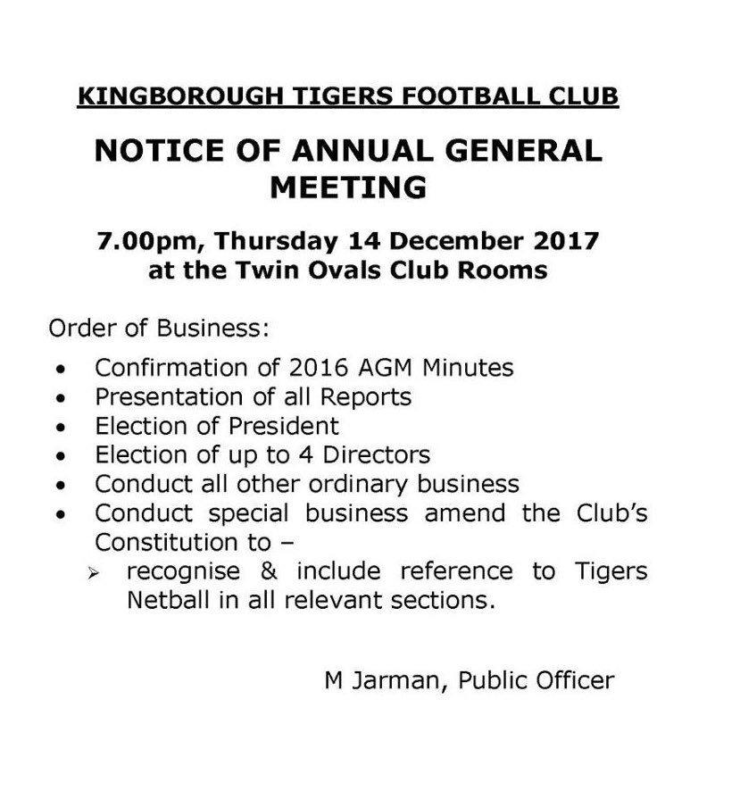 Kinborough Tigers Football Club – AGM